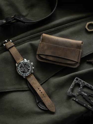 """Grant"" Rustic Brown Oil Tan Leather Flap Wallet"