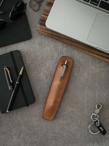 """Holmes"" Vintage Natural Leather Pen Sleeve"