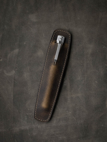 """Holmes"" Rustic Brown Oil Tan Leather Pen Sleeve"