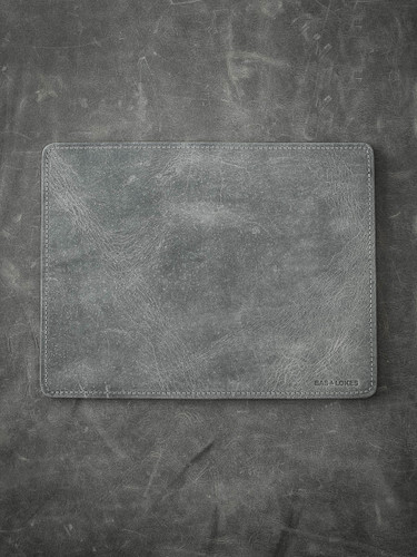 """Burton"" Grey/Green and Black Leather Reversible Valet Mat"