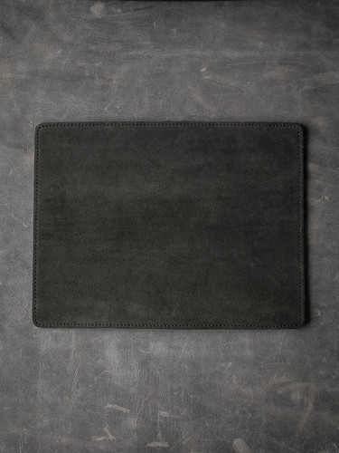 """Burton"" Dark Racing Green Suede and Black Leather Reversible Valet Mat"
