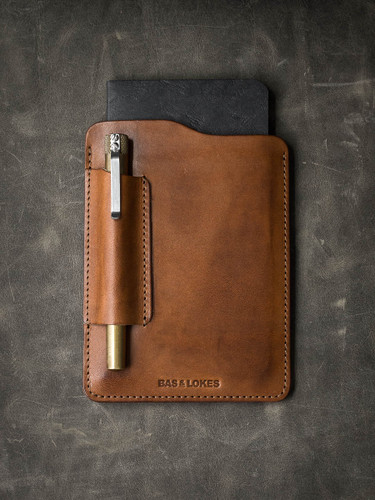 Vintage bourbon leather notebook sleeve