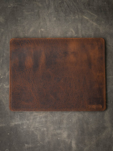 """Burton"" Limited Edition Saddle Tan and Black Leather  Valet Mat"