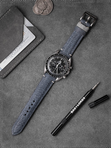Bas and Lokes light blue ostrich leather watch strap