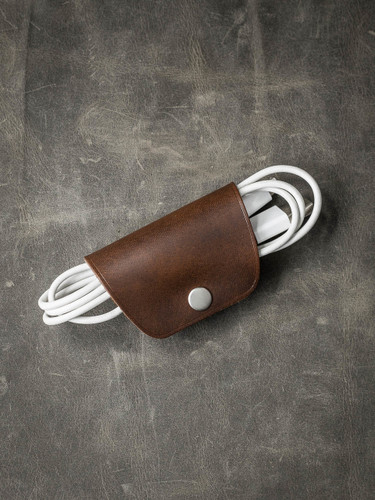 """Mason"" Walnut Brown Leather Cord Wrap"