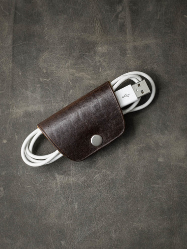 Brown Leather Cord  and Cable Wrap