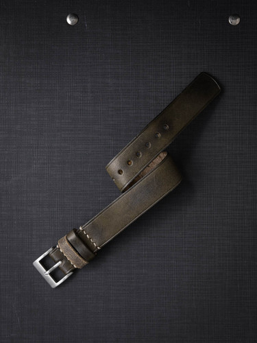 Vintage olive green handcrafted leather NATO watch strap