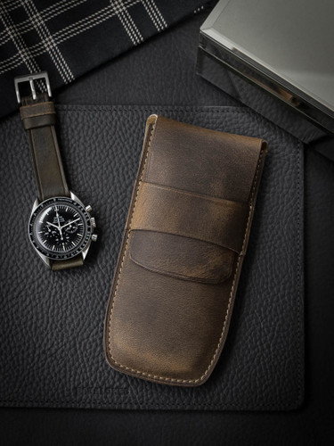 Bas and Lokes Rustic Brown Handcrafted Leather Watch Pouch
