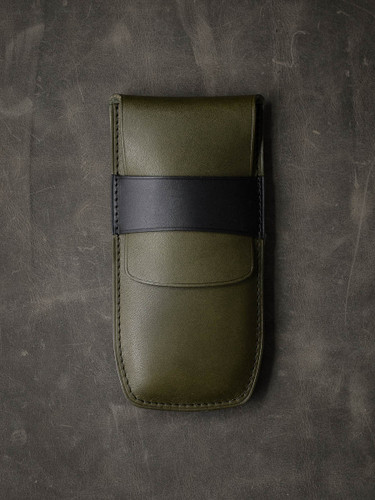 Bas and Lokes Olive Green and Black Handcrafted Leather Watch Pouch