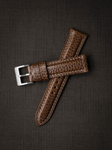 Textured Whiskey Padded Leather Watch Strap