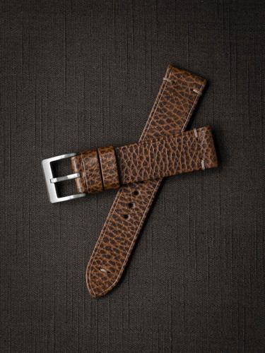 """Hank"" Textured Whiskey Leather Watch Strap"