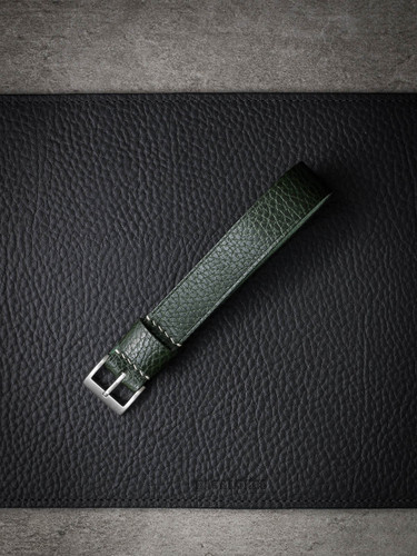 Bas and Lokes Dark Green Handcrafted Leather NATO Watch Strap