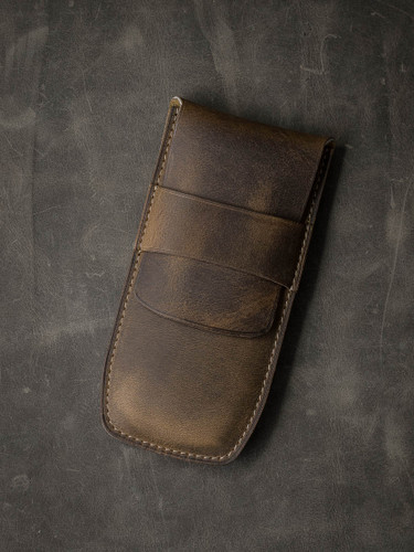 Bas and Lokes Brown Leather Pen Case