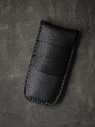 Bas and Lokes Black Textured Handcrafted Leather Pen Case