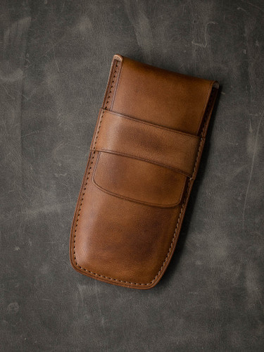 Bas and Lokes Vintage Bourbon Leather Pen Case
