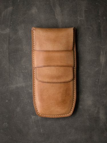Bas and Lokes Vintage Natural Handcrafted Leather Pen Case