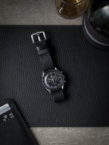 black leather nato watch strap