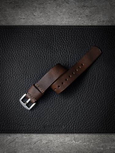 """Parkhill"" Stoned Brown Leather NATO Watch Strap"