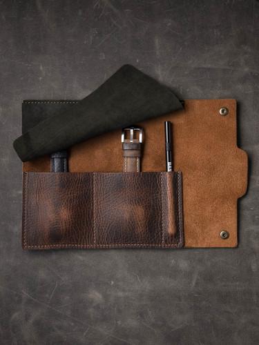 Burgundy Leather Watch Roll