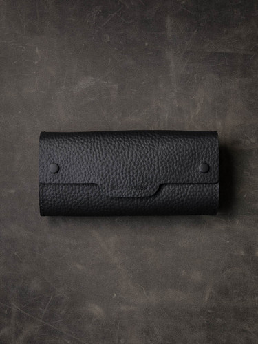 Black Pebbled Handcrafted Leather Watch Roll
