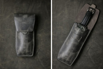 """Kingsford"" Ghost Grey Leather Watch Pouch"