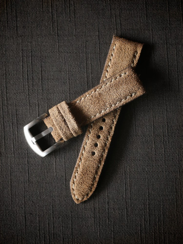 Bas and Lokes tan handcrafted suede watch strap