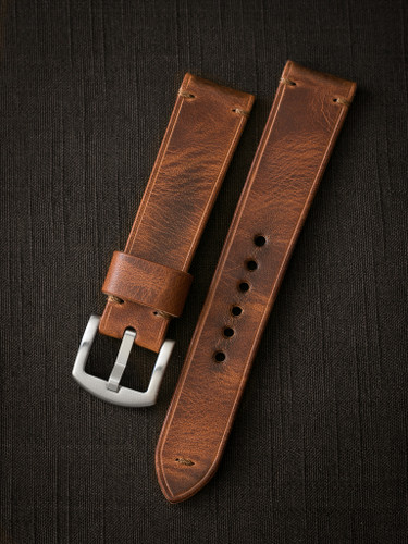 "SOLD OUT - ""Kostas"" 21/21 English Tan Leather Watch Strap"