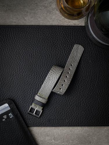 Grey Beige Ostrich Leather NATO Watch Strap