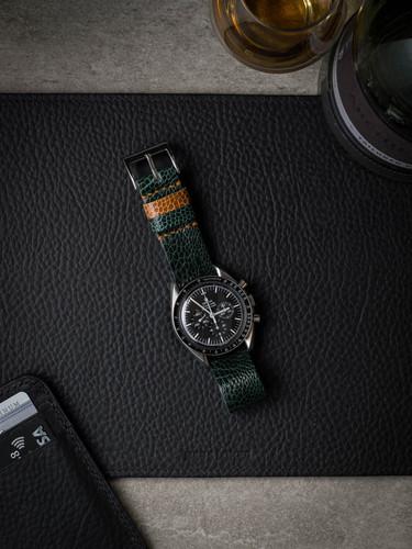 Green Ostrich Leather NATO Watch Strap