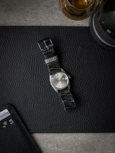 Ghost Black Ostrich Leather NATO Watch Strap