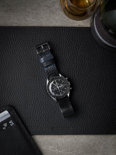 Black Ostrich Leather NATO Watch Strap