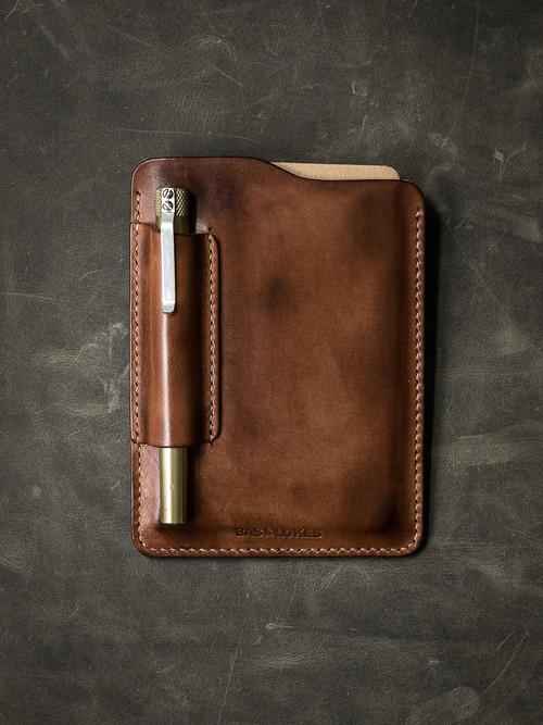 """Dante"" Russet Vintage Tan Leather Notebook Sleeve"