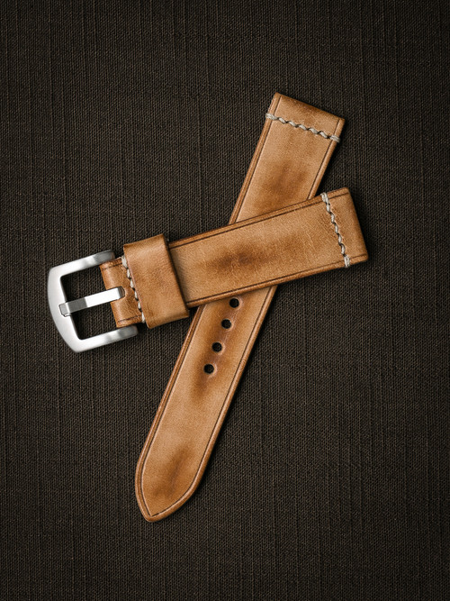 """Copeland"" Natural Vintage  Leather Watch Strap"