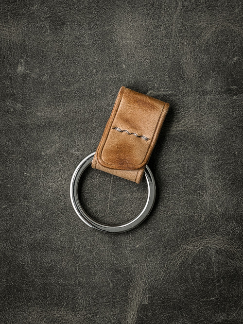 """Guardian"" Natural Vintage Handmade Leather Key Fob"