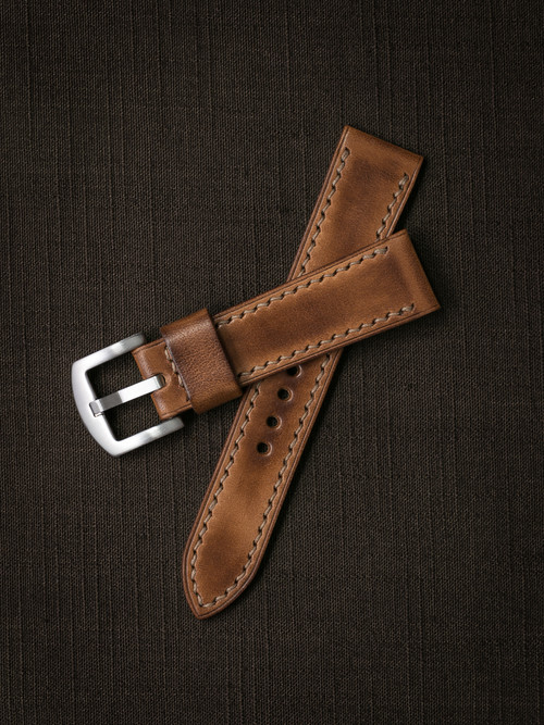 """Broderick"" Vintage Bourbon Handcrafted Leather Watch Strap"