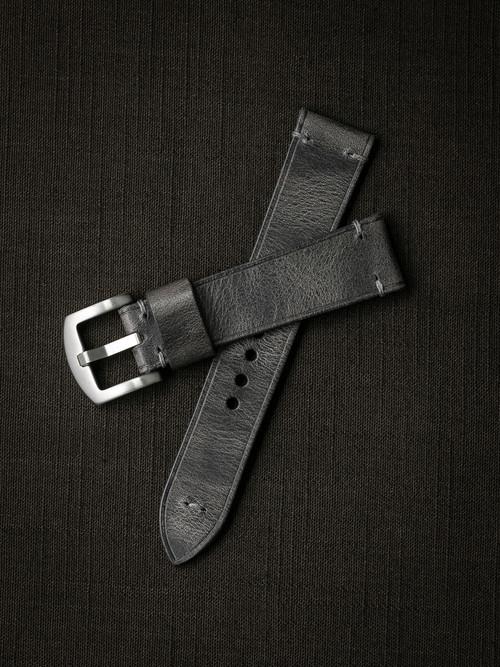 """""""Schenker"""" Vintage Ghost Grey Handcrafted Leather Watch Strap"""