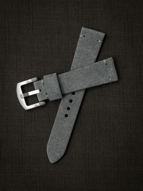 """Everett"" Light Grey Suede Watch Strap"