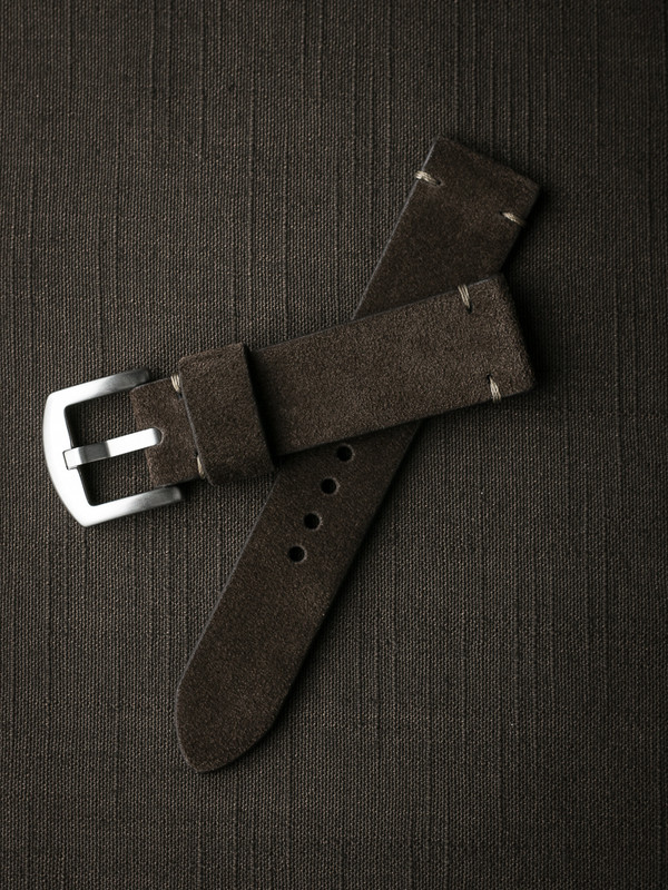 Brown suede handcrafted watch strap