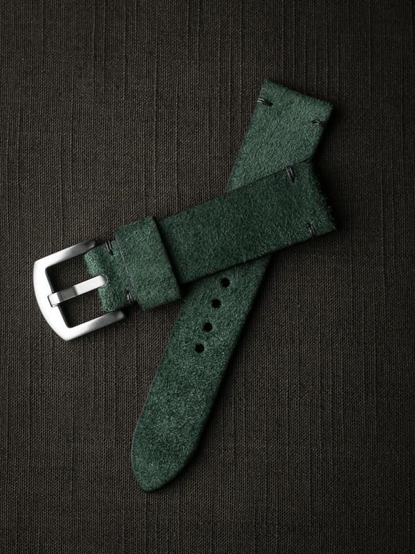 """Malachi"" Malachite Green Suede Watch Strap"