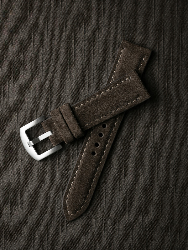 Bas and Lokes brown suede handcrafted watch strap