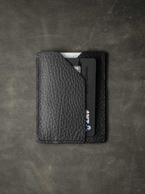 """Rex"" Black Pebbled Leather Slim Wallet"