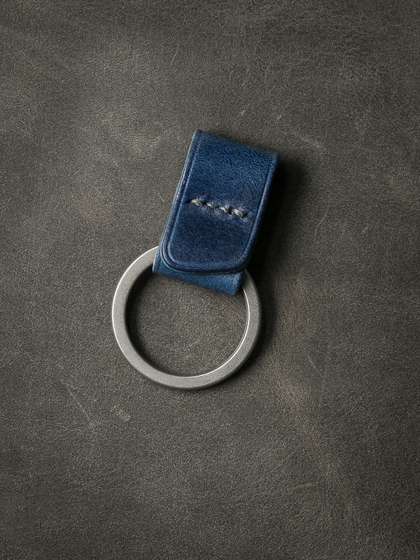 """Guardian"" Blue Handmade Leather Key Fob"