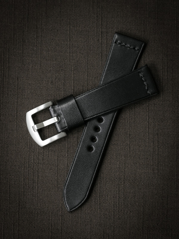 """""""Sypher"""" Black Leather Watch Strap"""