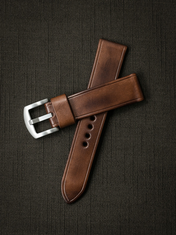 Beckham russet vintage tan handcrafted leather watch strap