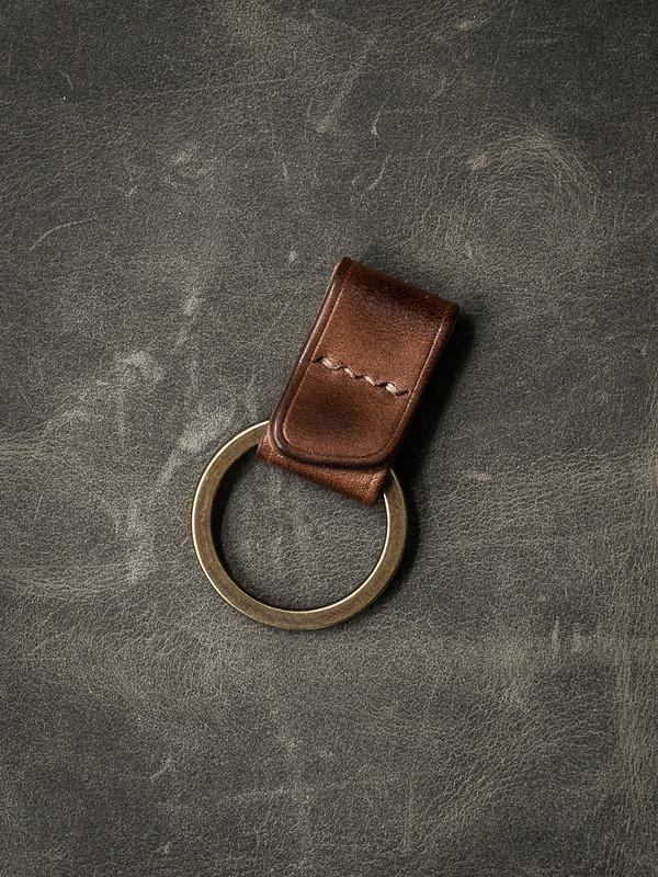 """Guardian"" Russet Vintage Tan Handmade Leather Key Fob"