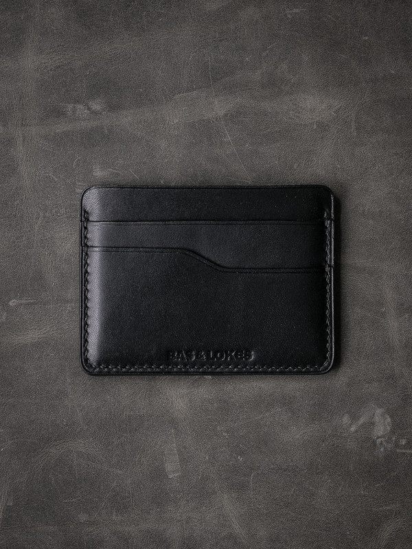 """Ford v2"" Smooth Black Slim Leather Wallet"