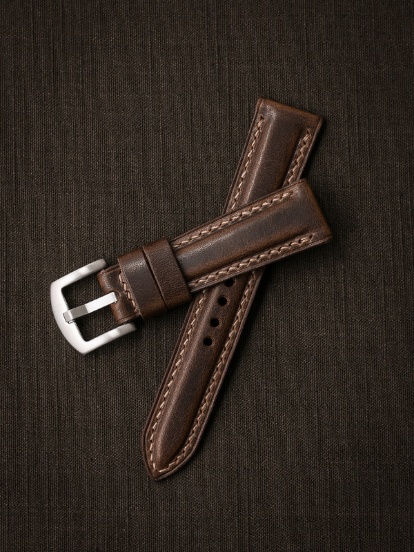 """""""Cambridge"""" Vintage Aviator Brown Padded Leather Watch Strap"""