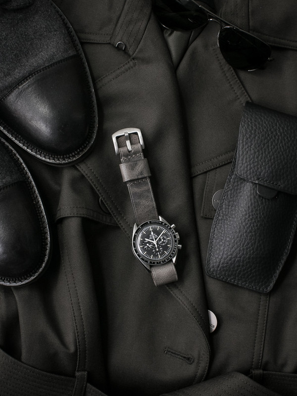 """Berliner"" Vintage Ghost Grey Leather NATO Watch Strap"