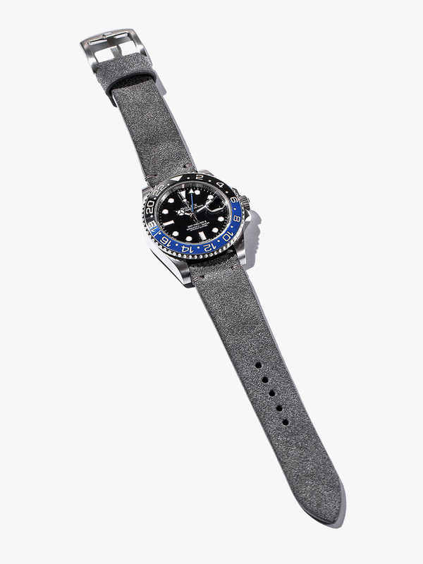 Bas and Lokes Light Grey Suede Handcrafted Watch Strap