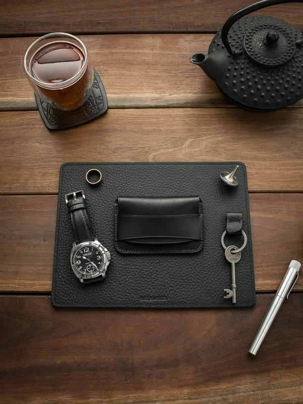 Bas and Lokes Black Textured Leather Reversible Valet Mat